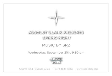 SRZ @ SPRING NIGHT BY ABSOLUT, ISABEL