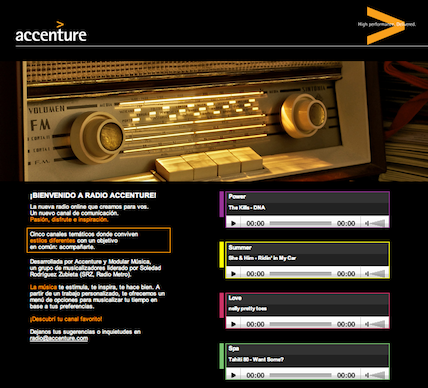 DESARROLLO RADIO ONLINE PARA EMPRESAS: RADIO ACCENTURE