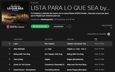 CONFECCION DE PLAYLIST PARA SPOTIFY NISSAN